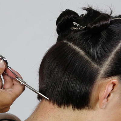 point cut along the perimeter to refine the haircut shape