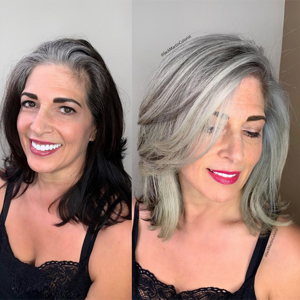 Jack Martin @jackmartincolorist Transformation Color Correction Corrective Color From Black To All-Over Smoky Gray Silver Box Dyed
